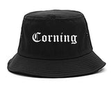Corning California CA Old English Mens Bucket Hat Black