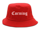 Corning California CA Old English Mens Bucket Hat Red