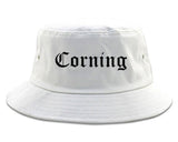 Corning California CA Old English Mens Bucket Hat White