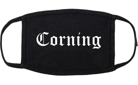 Corning New York NY Old English Cotton Face Mask Black