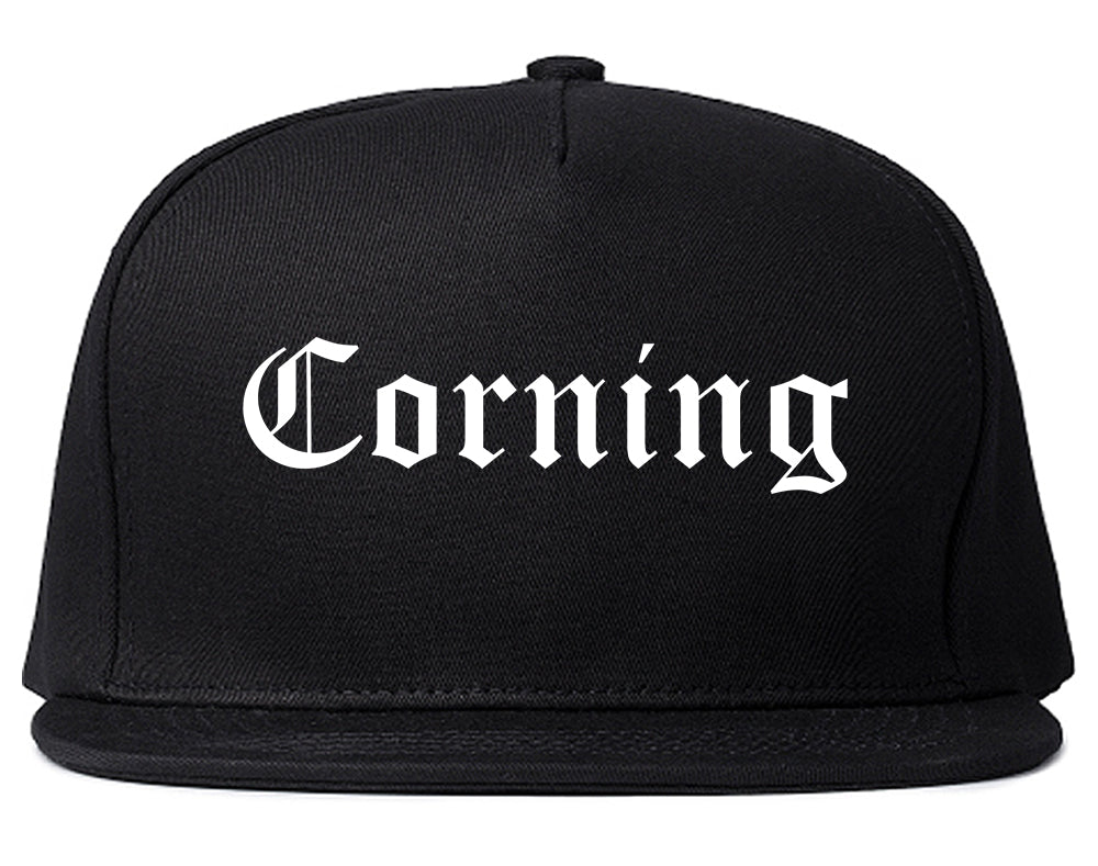 Corning New York NY Old English Mens Snapback Hat Black