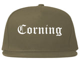 Corning New York NY Old English Mens Snapback Hat Grey
