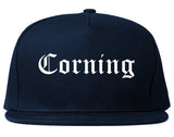 Corning New York NY Old English Mens Snapback Hat Navy Blue