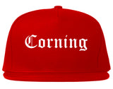 Corning New York NY Old English Mens Snapback Hat Red