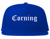 Corning New York NY Old English Mens Snapback Hat Royal Blue