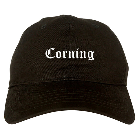 Corning New York NY Old English Mens Dad Hat Baseball Cap Black