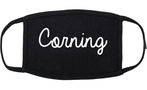 Corning New York NY Script Cotton Face Mask Black