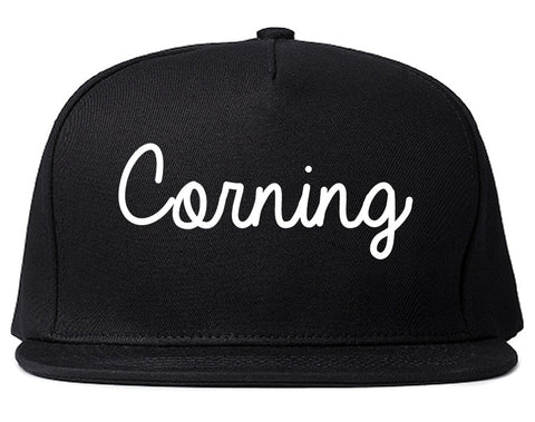 Corning New York NY Script Mens Snapback Hat Black