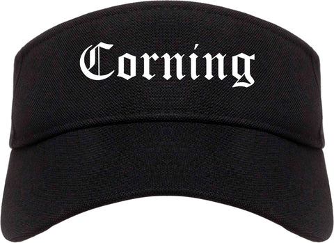 Corning New York NY Old English Mens Visor Cap Hat Black