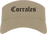Corrales New Mexico NM Old English Mens Visor Cap Hat Khaki