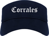 Corrales New Mexico NM Old English Mens Visor Cap Hat Navy Blue