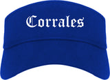 Corrales New Mexico NM Old English Mens Visor Cap Hat Royal Blue