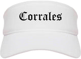 Corrales New Mexico NM Old English Mens Visor Cap Hat White