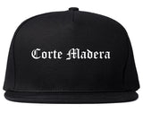 Corte Madera California CA Old English Mens Snapback Hat Black