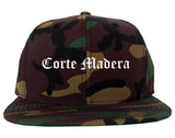 Corte Madera California CA Old English Mens Snapback Hat Army Camo