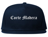 Corte Madera California CA Old English Mens Snapback Hat Navy Blue