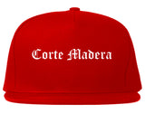 Corte Madera California CA Old English Mens Snapback Hat Red
