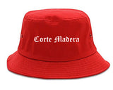 Corte Madera California CA Old English Mens Bucket Hat Red