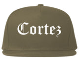 Cortez Colorado CO Old English Mens Snapback Hat Grey
