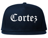 Cortez Colorado CO Old English Mens Snapback Hat Navy Blue