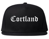 Cortland New York NY Old English Mens Snapback Hat Black
