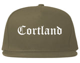 Cortland New York NY Old English Mens Snapback Hat Grey