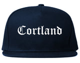 Cortland New York NY Old English Mens Snapback Hat Navy Blue