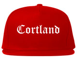 Cortland New York NY Old English Mens Snapback Hat Red