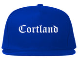 Cortland New York NY Old English Mens Snapback Hat Royal Blue