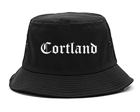 Cortland New York NY Old English Mens Bucket Hat Black