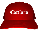 Cortland New York NY Old English Mens Trucker Hat Cap Red