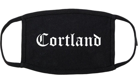 Cortland Ohio OH Old English Cotton Face Mask Black