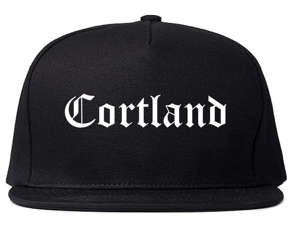 Cortland Ohio OH Old English Mens Snapback Hat Black