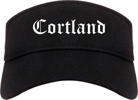 Cortland Ohio OH Old English Mens Visor Cap Hat Black
