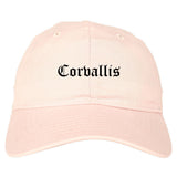 Corvallis Oregon OR Old English Mens Dad Hat Baseball Cap Pink