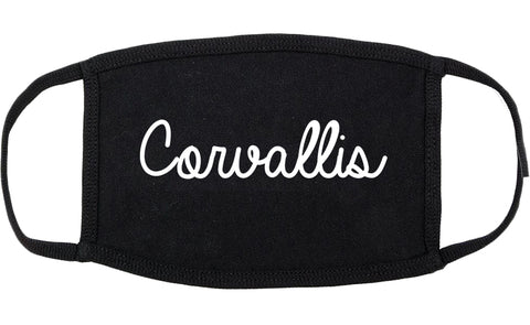 Corvallis Oregon OR Script Cotton Face Mask Black