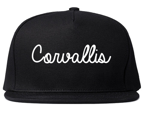 Corvallis Oregon OR Script Mens Snapback Hat Black