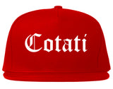 Cotati California CA Old English Mens Snapback Hat Red