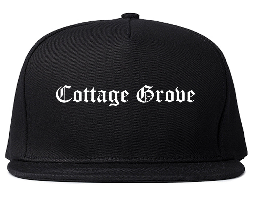 Cottage Grove Wisconsin WI Old English Mens Snapback Hat Black