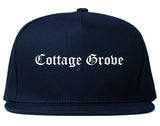 Cottage Grove Wisconsin WI Old English Mens Snapback Hat Navy Blue