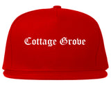 Cottage Grove Wisconsin WI Old English Mens Snapback Hat Red