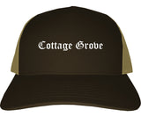Cottage Grove Wisconsin WI Old English Mens Trucker Hat Cap Brown
