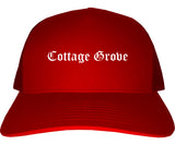 Cottage Grove Wisconsin WI Old English Mens Trucker Hat Cap Red