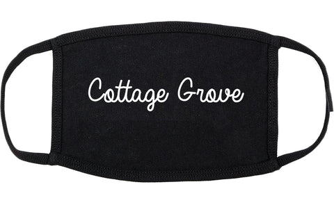 Cottage Grove Wisconsin WI Script Cotton Face Mask Black