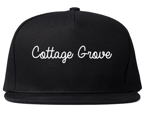 Cottage Grove Wisconsin WI Script Mens Snapback Hat Black