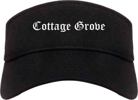 Cottage Grove Wisconsin WI Old English Mens Visor Cap Hat Black