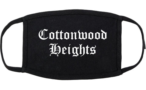 Cottonwood Heights Utah UT Old English Cotton Face Mask Black