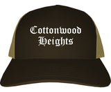 Cottonwood Heights Utah UT Old English Mens Trucker Hat Cap Brown