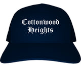 Cottonwood Heights Utah UT Old English Mens Trucker Hat Cap Navy Blue