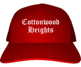 Cottonwood Heights Utah UT Old English Mens Trucker Hat Cap Red